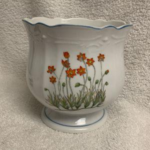 Italian White Floral Flower Pot for Sale in Largo, FL