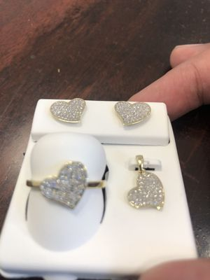 10k Diamond Ring, Pendant and Earrings Set for Sale in Dallas, TX