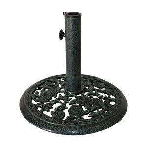 18 in Round Cast Iron Rosette Patio Umbrella Base - Verdigris Green (0015) for Sale in Houston, TX