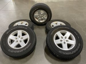 "USED 17"" JEEP WRANGLER FACTORY OEM ALLOY WHEELS RIMS AND TIRES 17x7.5 2015 for Sale in Westborough, MA"