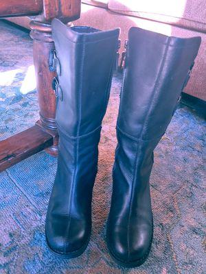 Sorel black leather women's rain boots size 8 for Sale in Costa Mesa, CA