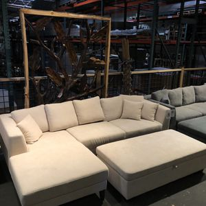 In Stock Today!! Beige Sofa & Chaise Only $699! Ottoman $199! for Sale in Vancouver, WA