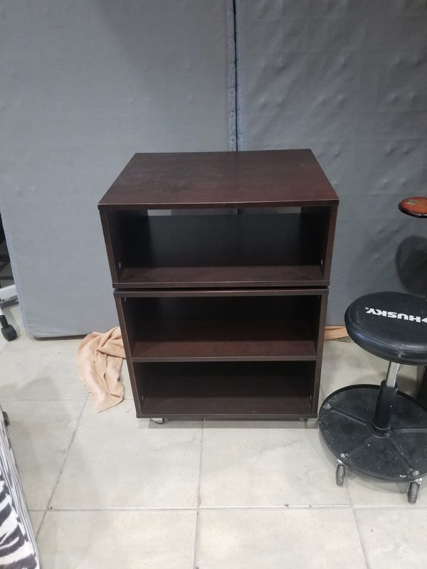 Brown tv stand shelving unit !