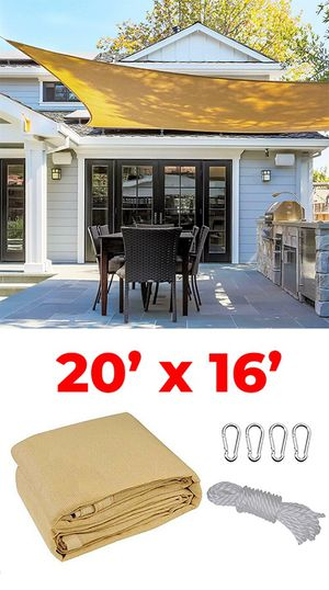(NEW) $50 each 20x16' Rectangle Sun Shade Sail Outdoor Canopy Top Cover, Tan Color for Sale in Whittier, CA
