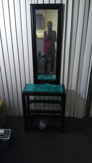 Brown book shelf with mirror. 25lb barbell for Sale in San Bernardino, CA
