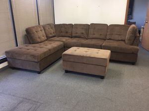 New brown chenille sectional sofa with storage ottoman! Delivery for Sale in Portland, OR