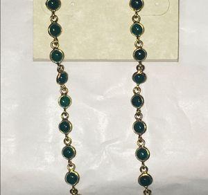 18K plated 925S emerald bezel station earrings for Sale in Gardena, CA