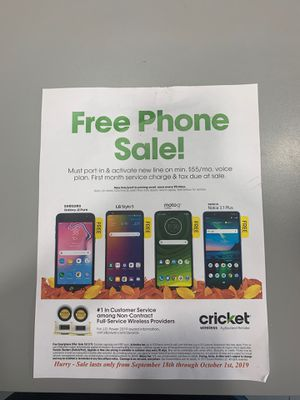 Come to cricket wireless and get 1 of these free phones when you switch. for Sale in Chicago, IL