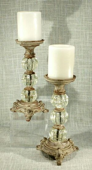 """2pc. Set Candleholders with Glass Accents (Candles included), 12""""x4"""" *PICKUP ONLY* home decor, household, rustic, shabby chic, farmhouse for Sale in Mesa, AZ"""