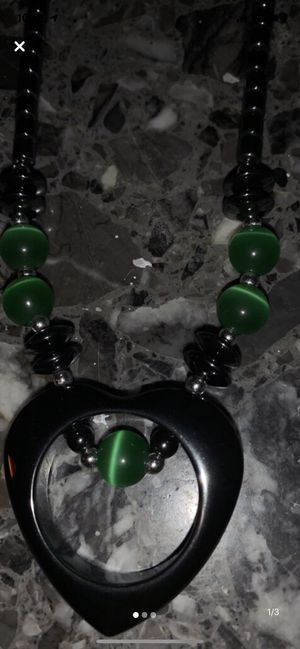 Silver and green beaded necklace for Sale in Anchorage, AK