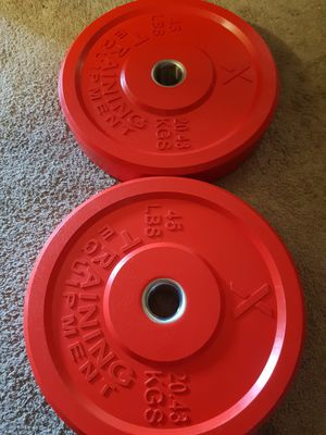 NEW 45 lb crossfit bumper plates olympic weights for Sale in San Diego, CA