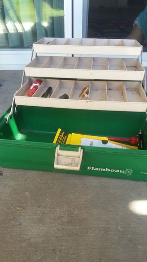 Fishing poles and tackle box for Sale in Pasco, WA