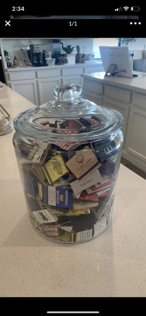 Collectible large glass jar with matches for Sale in Queen Creek, AZ
