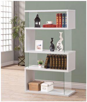 4-Tier Glossy White/Clear Bookcase for Sale in El Monte, CA