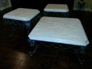 Marble and iron coffee and end tables for Sale in Abilene, TX