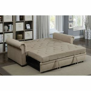 BEIGE LINEN SOFA ADJUSTABLE BED FUTON TUFTED ROLLED ARMS for Sale in Highland, CA