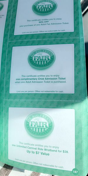 Fair coupons for Sale in Fresno, CA