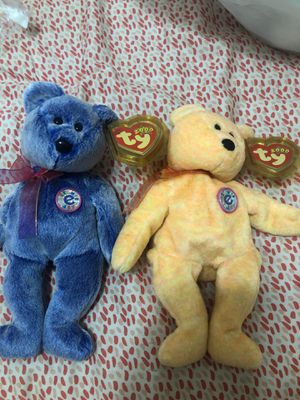 Beanie Babies Pair 2000 Sunny And Periwinkle the E-Bears Authentic for Sale in Brandon, FL