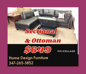 sectional and ottoman for Sale in Queens, NY