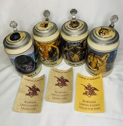 Budweiser Endangered Species Stein Collection 4 of 8 Used for Sale in Phoenixville,  PA