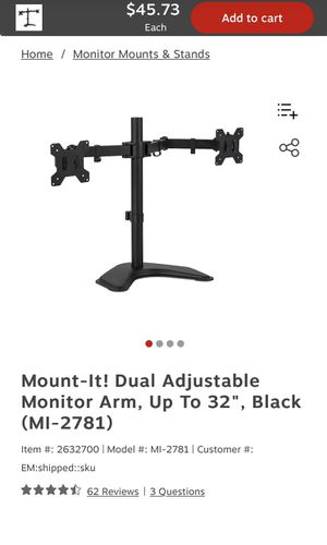 Mount-It! Dual Monitor Arm - BRAND NEW opened for Sale in Woodbine, MD
