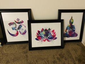 Om, lotus, Buddha watercolor prints in black frames for Sale in Portland, OR