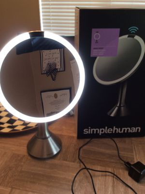 SIMPLEHUMAN tru-lux light system, sensor makeup 5x magnifying Mirror ,vanity ,beauty tool stainless color, with box. for Sale in Cantonment, FL