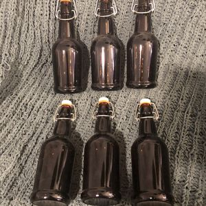 Self-Sealing Glass Amber Beer Bottles Home Beer Brewing Decor for Sale in North Riverside, IL