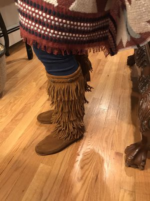 Minnetonka Fringe suede boots Cognac color for Sale in Hartford, CT