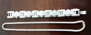 Men's Jewelry...Diamond Tennis Necklace with Diamond Clustered Men's Bracelet for Sale in Columbus, OH