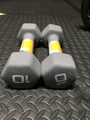 Rubber 10 pound dumbbells for Sale in Orlando, FL