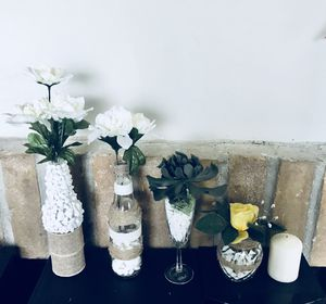 Decor base, faux flower & succulent. Glass and white stone. 5 items! New! for Sale in Houston, TX