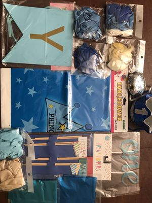 Baby boy 1st birthday party prince theme bundle for Sale in Fontana, CA