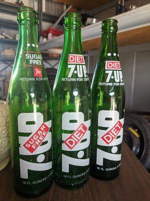 Vintage diet 7Up green bottles for Sale in Orange, CA