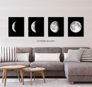 Moon Wall Art, Black and White Wall Art, Bedroom Wall Decor, Living Room wall Décor, Wall Art for Home Office (Set of 4, 8X10in, Unframed Item ships for Sale in Fremont, CA