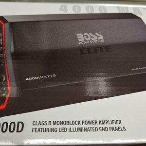 Car Amplifier : Boss Elite 4000 Watts 1 ohm monoblock Class D Built in Crossover 40a×3 fuses With Bass Control for Sale in Downey, CA