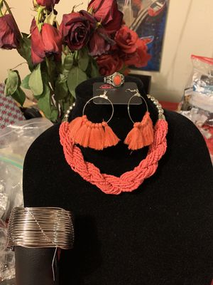 New jewelry set 4pcs color orange: necklace, bracelet, earrings and ring for Sale in Orange, CA