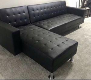 Black Adjustable Sofa/Chaise Futon for Sale in Houston, TX