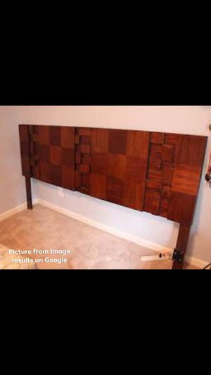STURDY • King SIZE HEADBOARD • Walnut • with metal bed frame for Sale in Chittenden, VT