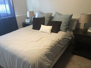 Queen bed, box spring and linens for sale for Sale in Fargo, ND