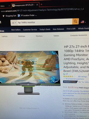 Hp gaming Monitor 144hz for Sale in Amarillo, TX