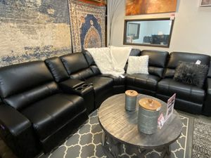 Power Air Leather Sectional Sofa, Black for Sale in Santa Fe Springs, CA