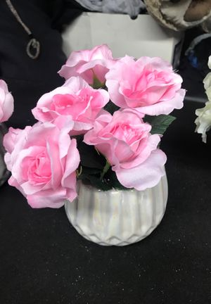Pink Rose plant in gorgeous metallic-white glass flower vase. Table centerpiece + home decor for Sale in Upland, CA