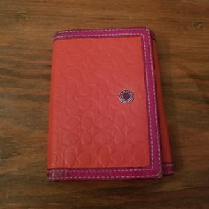 Pink and Orange Leather Coach Wallet for Sale in Denver, CO