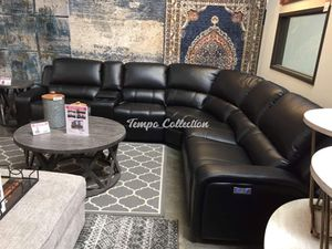 Power Air Leather Sectional Sofa, Black, SKU# LJMEUROBLKTC for Sale in Santa Fe Springs, CA