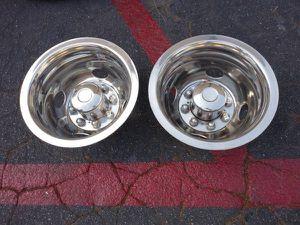 Two rear chrome dually hub caps from 16 inch rims. wheel simulators for Sale in Montebello, CA