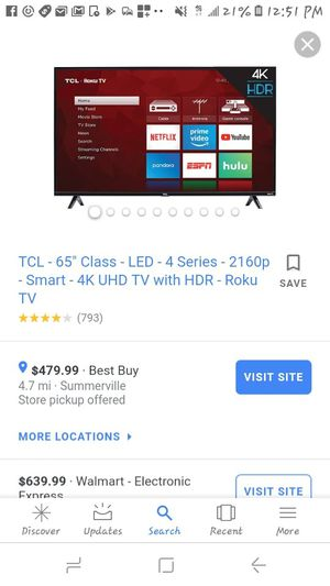 Tcl roku 4k smart tv for Sale in Ladson, SC