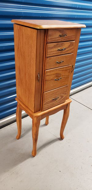 Armoire Storage Jewelry Cabinet with 5 Drawers & Mirror for Sale in Washington, DC