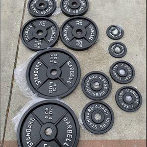 Olympic weight plates (2x45Lbs,2x35Lbs, 2x25Lbs, 2x10Lbs, 2x5Lbs, 2x2.5Lbs) for $475 Firm on Price for Sale in Long Beach, CA