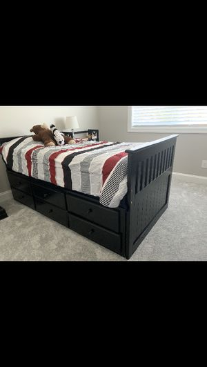 Espresso Twin Platform Bed With Trundle And Droors for Sale in Bellevue, WA